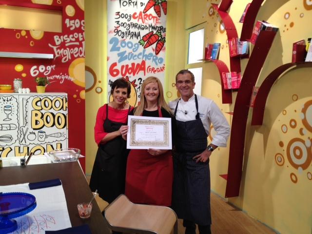 eccomi con Francesca Barberini e lo Chef Max Mariola ed il mio bel diplomino
