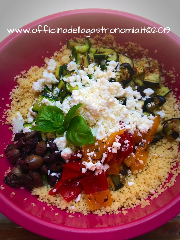 Cous cous con Verdure grigliate, Olive e Feta